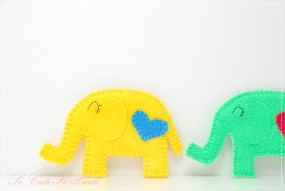 Yellow LOVE cozy elephant coaster